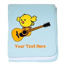 Chick with Guitar and Text. baby blanket