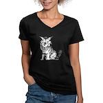 Crazy Dog Women's V-Neck Dark T-Shirt