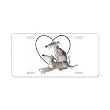Scottish Deerhounds in Heart Aluminum License Plat