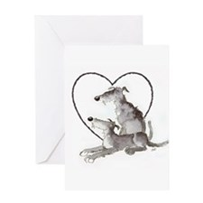 Scottish Deerhounds in Heart Greeting Card