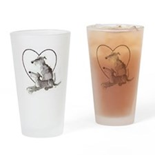 Scottish Deerhounds in Heart Drinking Glass
