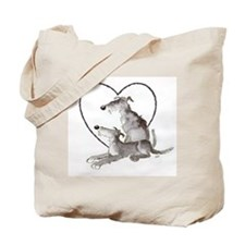 Scottish Deerhounds in Heart Tote Bag