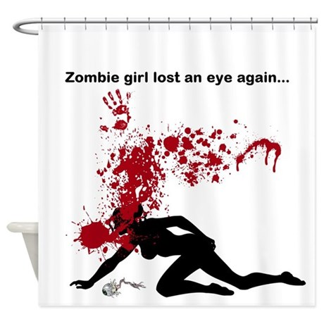 zombie girl shower curtain by kewlthreads