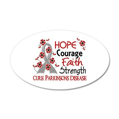 Hope Courage 3 Parkinson's 20x12 Oval Wall Decal