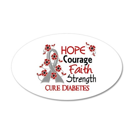 Hope Courage 3 Diabetes 20x12 Oval Wall Decal