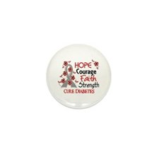 Hope Courage 3 Diabetes Mini Button (10 pack)
