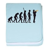 evolution trumpet player baby blanket