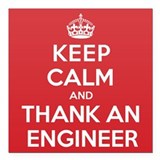 "K C Thank Engineer Square Car Magnet 3"" x 3"""