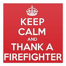 "K C Thank Firefighter Square Car Magnet 3"" x 3"""