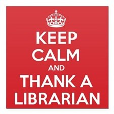 "K C Thank Librarian Square Car Magnet 3"" x 3"""