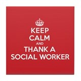 K C Thank Social Worker Tile Coaster