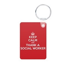 K C Thank Social Worker Aluminum Photo Keychain