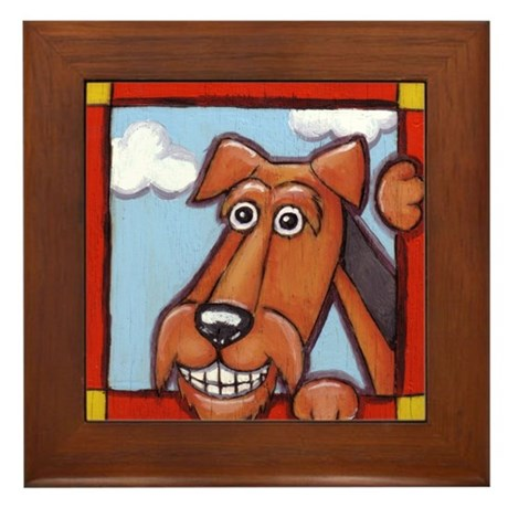 The Airedale Shop Happy Framed Tile