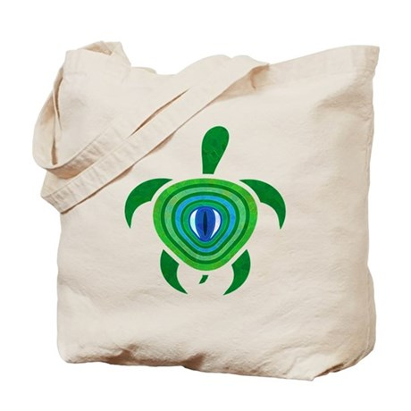 Green Eye Turtle Tote Bag
