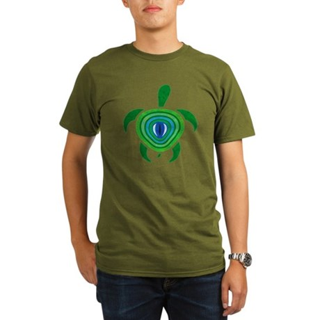 Green Eye Turtle Organic Men's T-Shirt (dark)