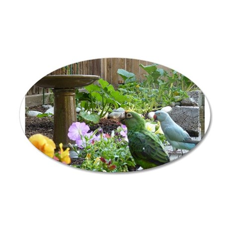Parrots in the Garden 20x12 Oval Wall Decal