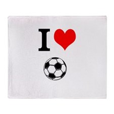 I Love Soccer Throw Blanket
