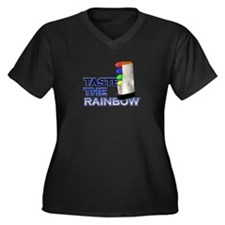 Taste the Rainbow Women's Plus Size V-Neck Dark T-
