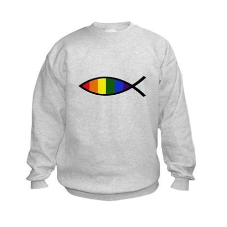 Gay Colors Christian Fish Kids Sweatshirt