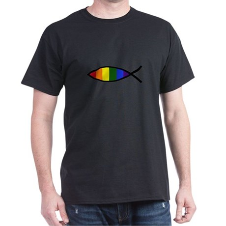 Gay Colors Christian Fish Dark T-Shirt