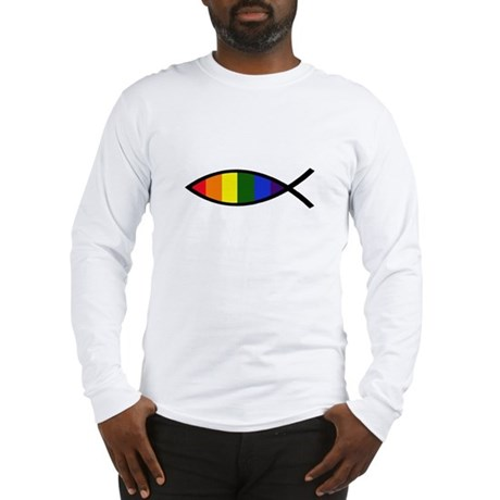 Gay Colors Christian Fish Long Sleeve T-Shirt
