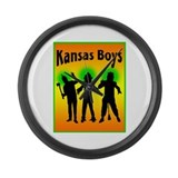 Kansas Boys Large Wall Clock