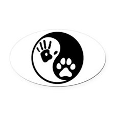 Human & Dog Yin Yang Oval Car Magnet