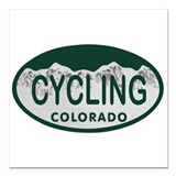"Cycling Colo License Plate Square Car Magnet 3"" x"