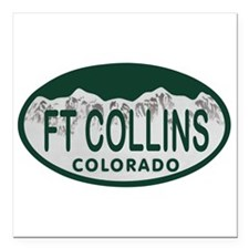 Ft Collins Colo License Plate Square Car Magnet 3""