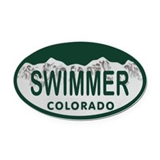 Swimmer Colo License Plate Oval Car Magnet