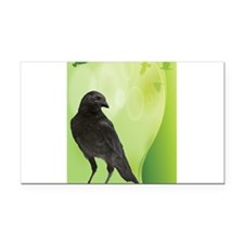 Green Crow Rectangle Car Magnet