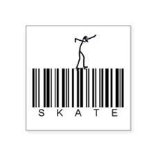 "Bar Code Skate Square Sticker 3"" x 3"""