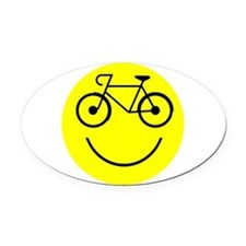 Smiley Cycle Oval Car Magnet