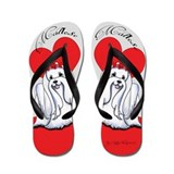 Maltese Love Gray Flip Flops