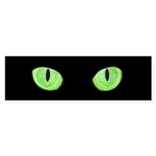Green Cat Eyes Bumper Sticker