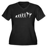 Kickboxing Women's Plus Size V-Neck Dark T-Shirt