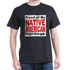Proud Native American Heritage (Front) Black T-Shi