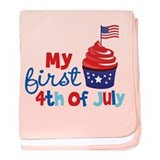 Cupcake First 4th of July baby blanket
