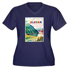 Alaska Travel Poster 2 Women's Plus Size V-Neck Da