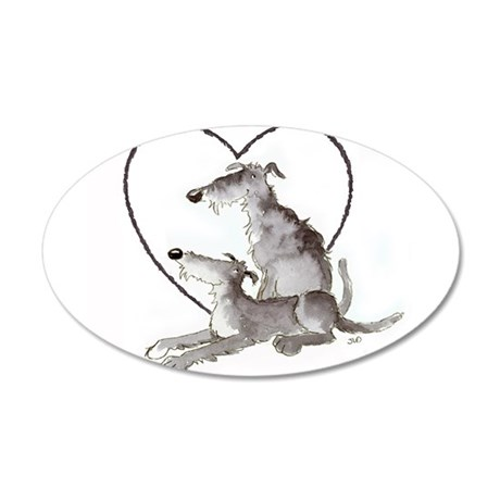 Scottish Deerhounds in Heart 35x21 Oval Wall Decal