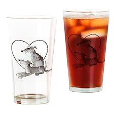 Scottish Deerhounds in Heart Drinking Glass