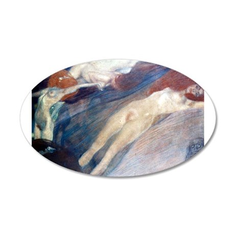 Klimt - Moving Water 20x12 Oval Wall Decal