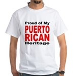 Proud Puerto Rican Heritage (Front) White T-Shirt