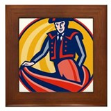Matador Bullfighter Cape Retro Framed Tile