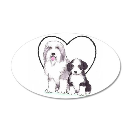 Bearded Collies 20x12 Oval Wall Decal
