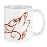 Howling Wolf Red Tan Mug
