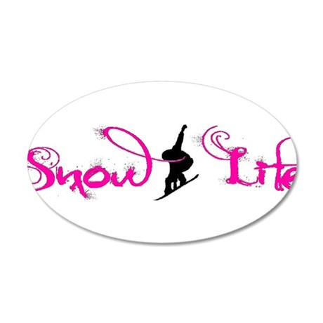 Pink snowlife with boarder 35x21 Oval Wall Decal
