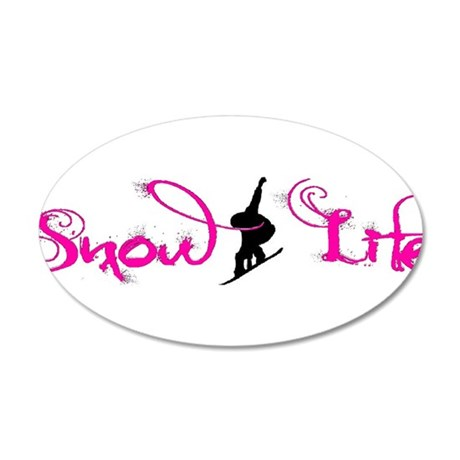 Pink snowlife with boarder 20x12 Oval Wall Decal