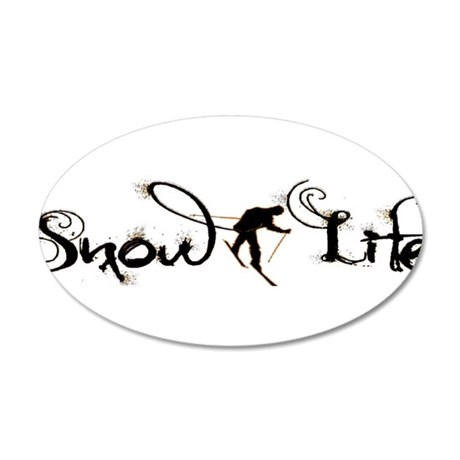 Cursive Snowlife with skier 35x21 Oval Wall Decal