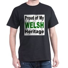 Proud Welsh Heritage (Front) Black T-Shirt